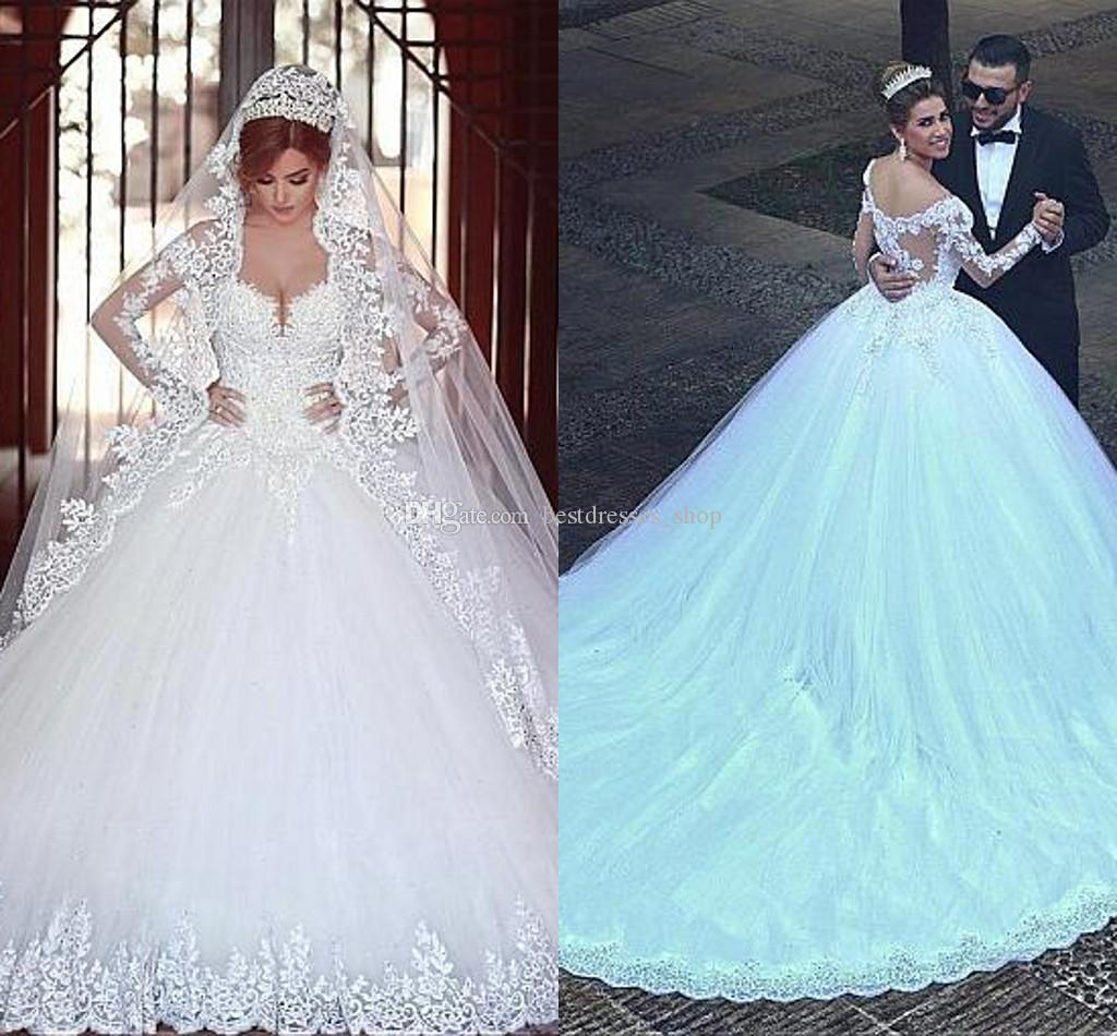 2017 Luxury Plus Size Wedding Dresses Lace Ball Gown Long Sleeve ...