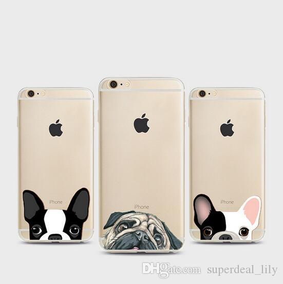 DHL For iPhone 7 6s 6 Plus 5s 5 Case Clear Soft TPU Cover Pet Dog Cat  Pattern Case Phones Shell