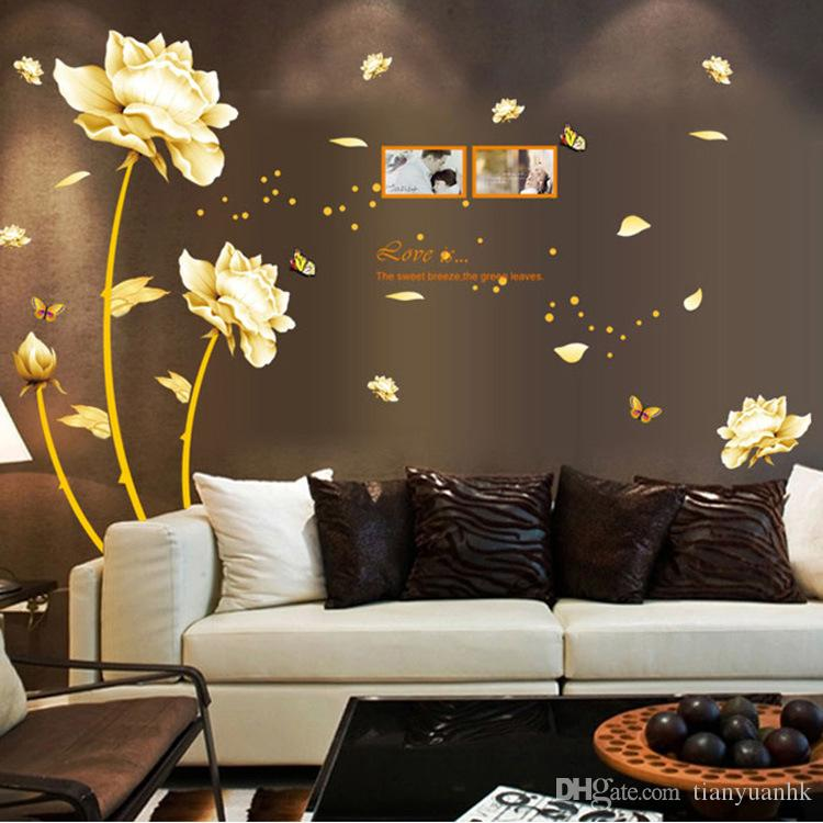 Attractive Home Furnishings Gold Flower Wall Stickers Romantic Warm Bedroom Living  Room TV Background Wall Stickers Designer Wall Stickers Dinosaur Wall  Decals From ...