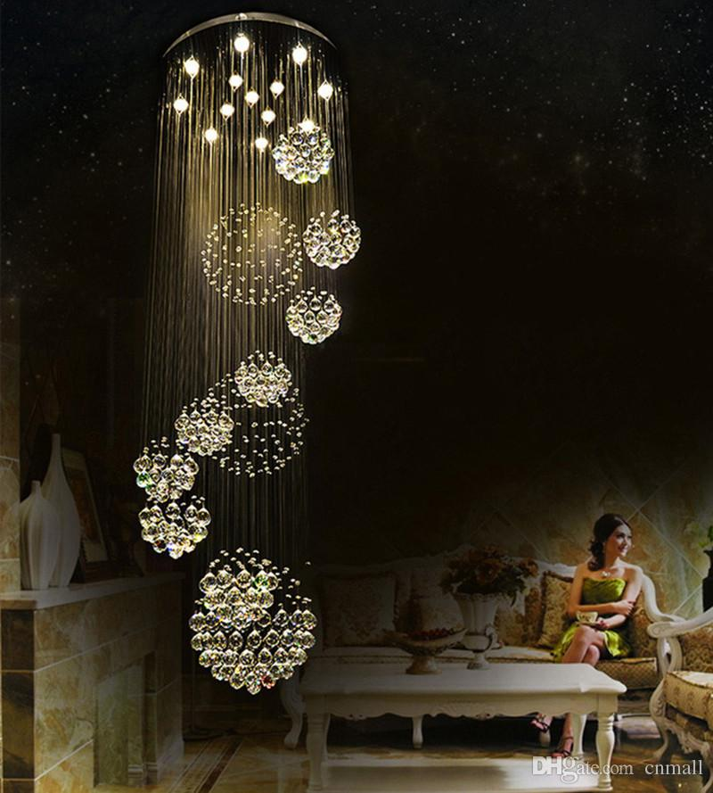 modern item flush mount 12 lights Dia800*H3000MM large modern hotel chandelier crystal staircase light