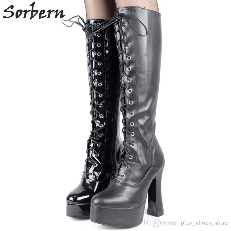 High Chunky Heel Boots