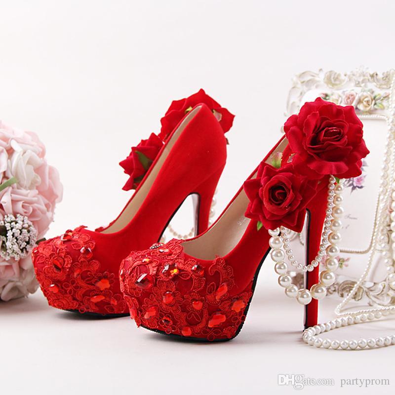 Rouge Chaussures De Mariage Fleur Strass Robe De Mariée Chaussures Stiletto Talon Flock En Cuir Mode Femmes Cristal Applique Prom Pompes