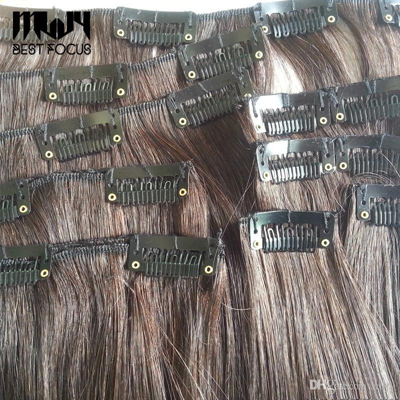 Mljy 28mm 32mm u em forma de perucas clips com silicone para trás para extensões de cabelo preto marrom acessórios ferramenta / lote