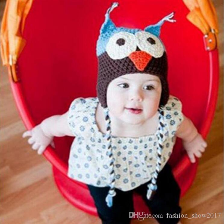 New Cute Infant Toddler Handmade Knitted Crochet Baby Owl Hat Cap with Ear Flap Animal Style For Girl Boy Gift