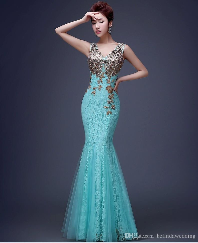 Sexy Mermaid /Trumpet Elie Saab Evening/Formal/Prom Dresses Evening Wear Beaded See Through Lace Backless V Neck With Embroidery