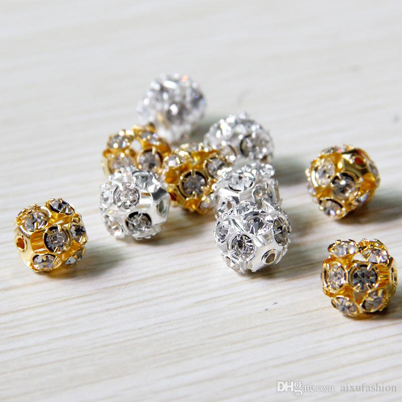 Alloy Crystal Beads 8mm/10mm Gold/Silver Round Pave Disco Ball Beads Rhinestone Crystal Spacer Beads for DIY Jewelry Findings