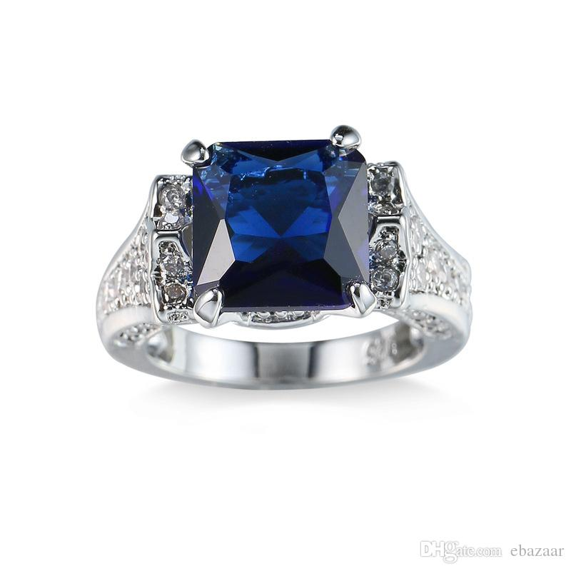 Classic Sapphire CZ White Gold Filled Plated Lover Engagement Wedding Ring Sz6-10 Gift