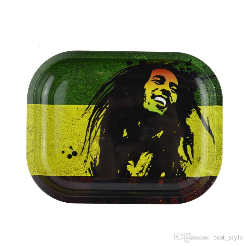 Bob Marely Metal Trays S Size 18.5cm* 14.5cm *2.5cm Dollar Picture Lion Skull Green Leaf Tobacco Tray Handroller Cigarette Plates for Sale