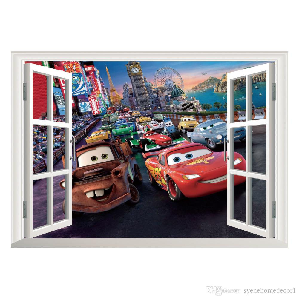 Movie cars wall stickers kid bed play room decoration diy 3d see larger image amipublicfo Image collections