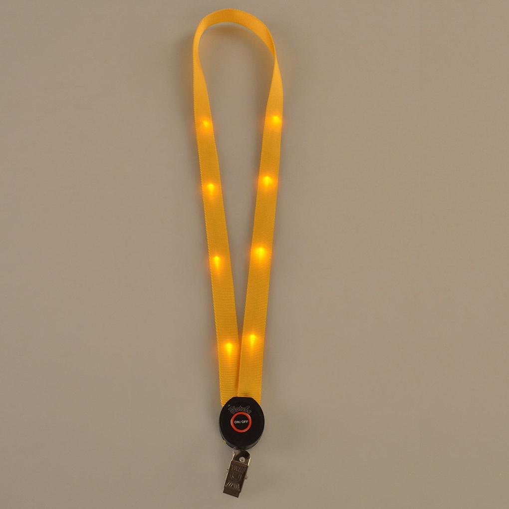 LED allume la lanière porte-clés d'identification badge carte collier collier porte-corde suspendue