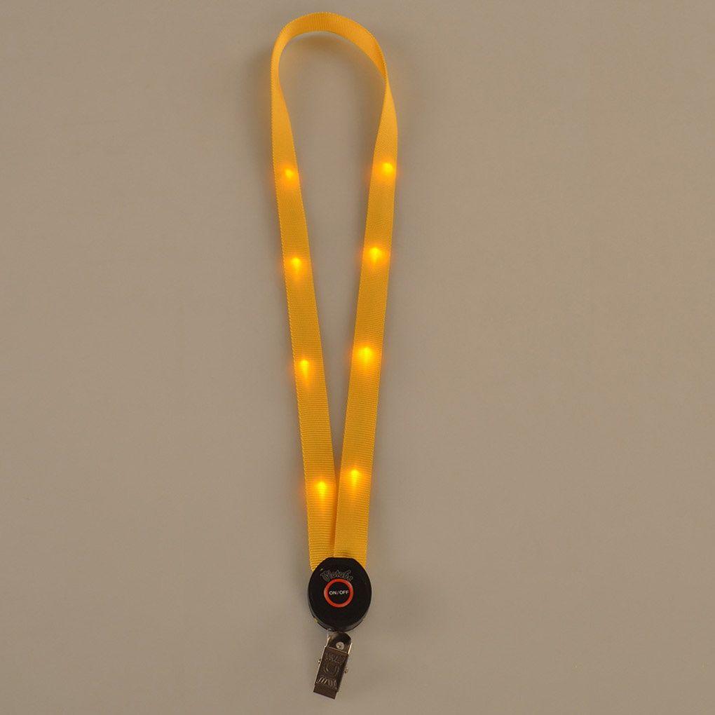 LED Light Up Cordão Chaveiro ID Badge Cartão Colar Chaves Titular Pendurado Corda