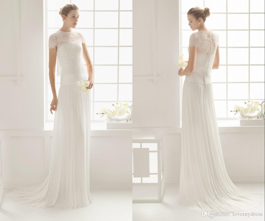 e273b3a13ed Jewel Neck Short Sleeve Wedding Gown Cheap Lace Formal Wear Beautiful Hot  Sale Sweep Train A Line Style Wonderful High Quality Cheap Price Affordable  ...