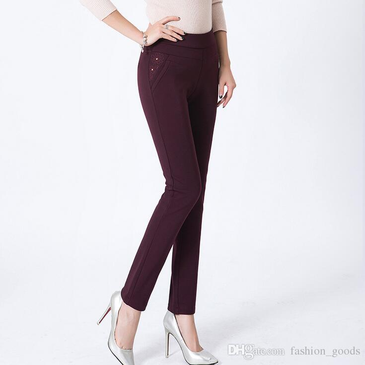 Spring middle-aged female stretch primer outside the high waist to increase the size of the mother's feet pants PW002 Women's Pants & Capris