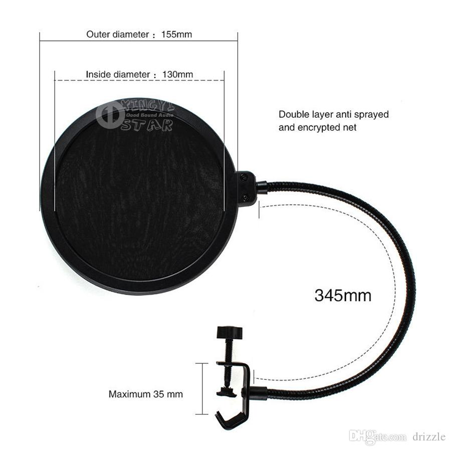 Double Layer Condenser Microphone Pop Filter Mask Shied Gooseneck Windscreen For Boom Mic Stand Computer Video Recording Studio Wind Screen