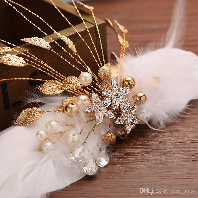 Gold Feather Hair Clips For Brides Wedding Party Occasions White Color Hair clips Headpiece Accessory Wholesale