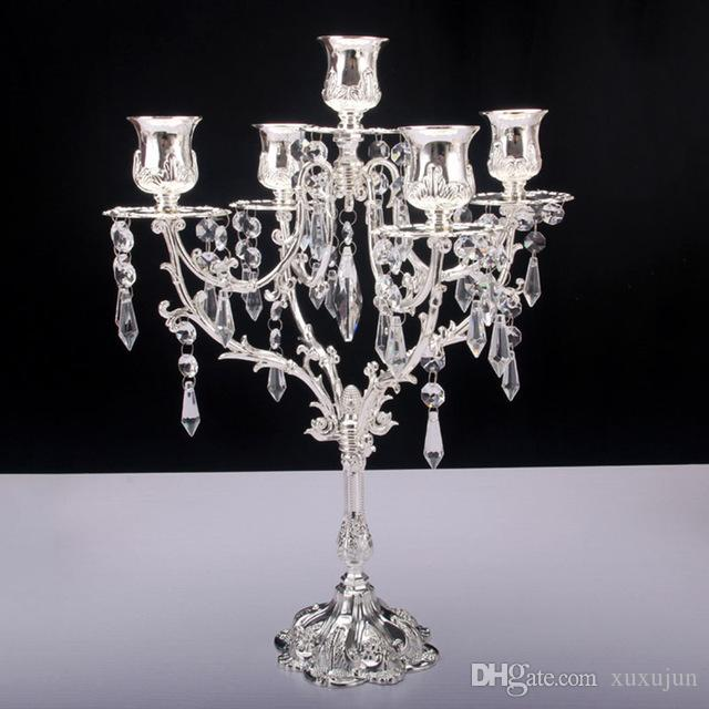 Candelabro in cristallo 5 testa portacandele in argento placcato oro con catena in cristallo centrotavola decorazione candelabro