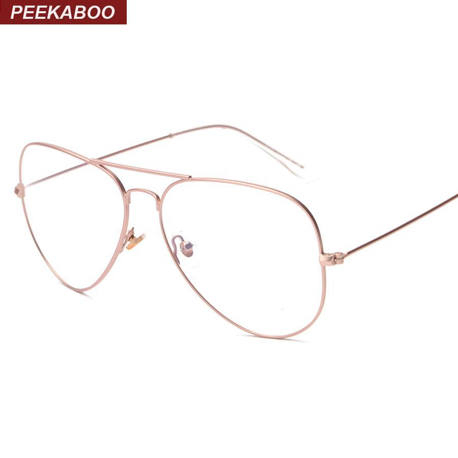 2018 Wholesale Peekaboo Rose Gold Glasses Frame Women Brand Thin ...