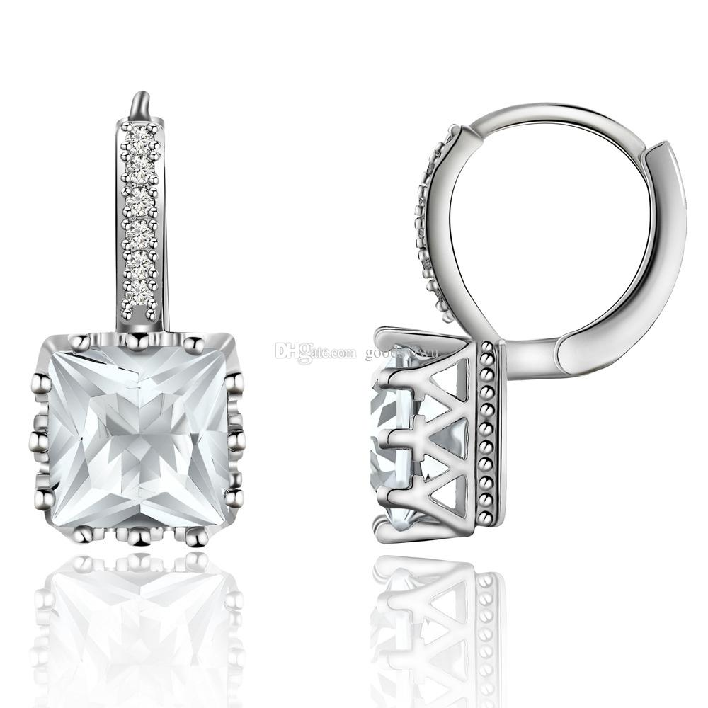 Горячий модный роскошный Кристалл серьги квадратный Циркон в белом золоте покрытие Марка дизайн серьги манжеты клип для женщин ювелирные изделия