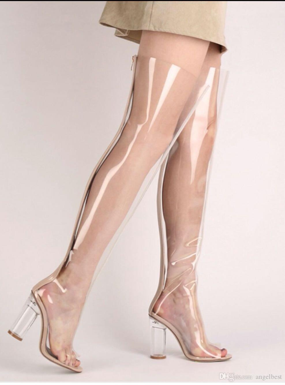 736514d1ef45 Gorgeous Hot New Open Toe Clear PVC Transparent Thigh High Boots Nude Chunky  Heel Block Heels Woman Boots See Through Club Party Dress Shoes Cheap Shoes  ...