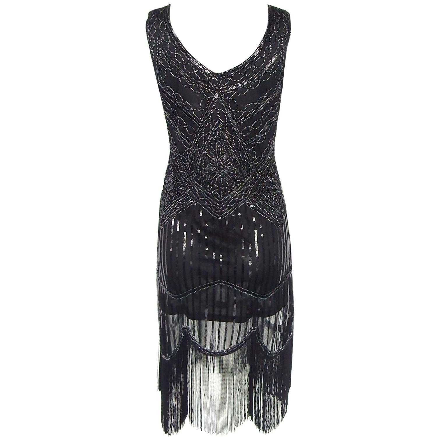 Fashion Sexy All the real shot of the sequins hand-woven tassel retro dress EH0013