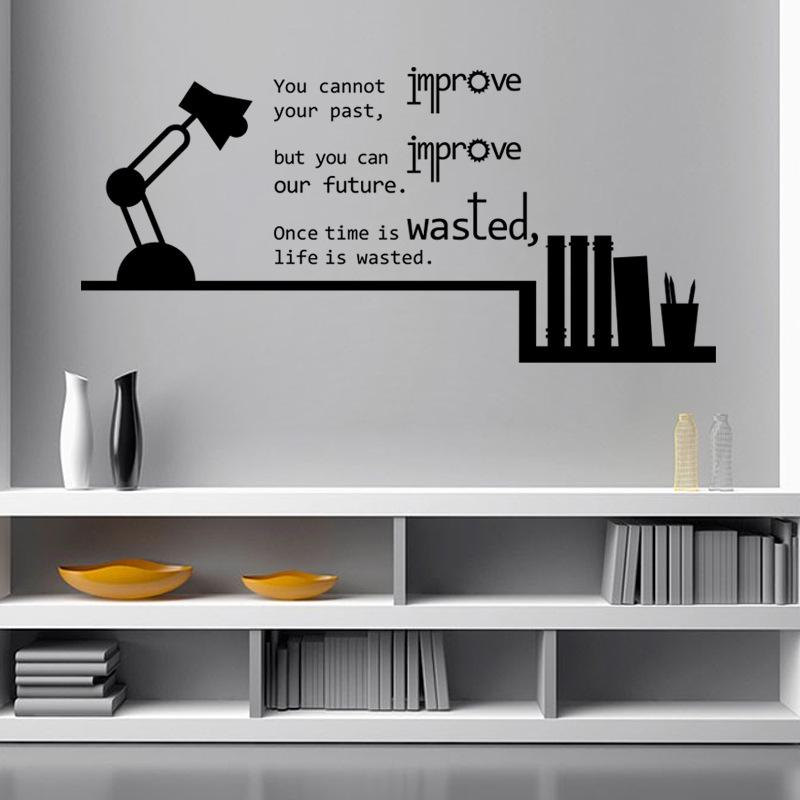 Book Shelves Table Lamp Wall Sticker Bedroom Book Room Home Decor Wallpaper Poster Past Future Life Saying Wall Quote Graphic Art Wall Decal