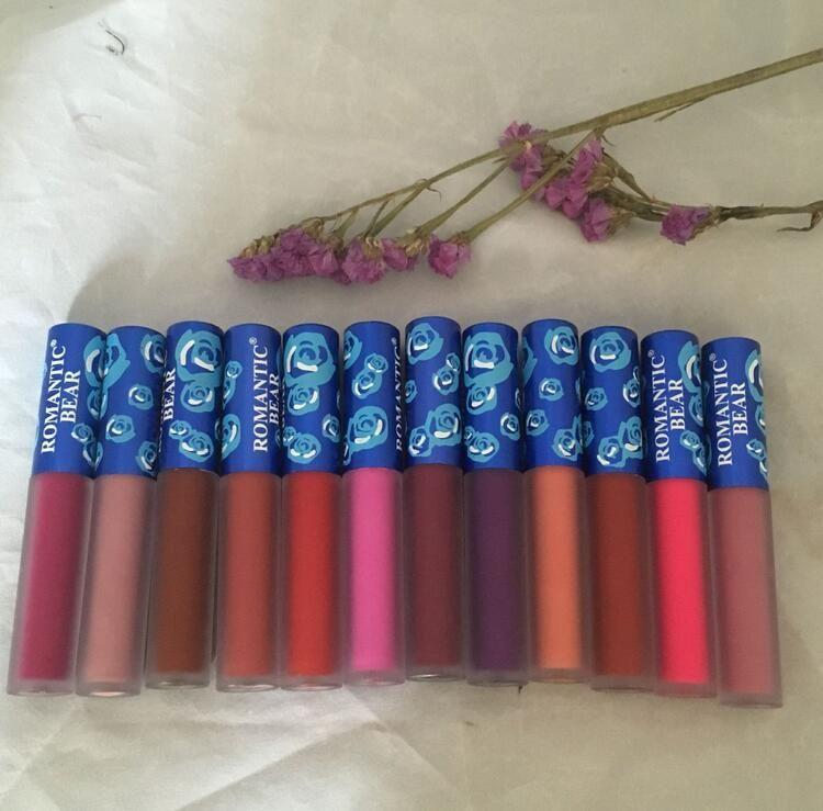 Romantic Bear Matte Liquid Lipstick Beauty Make Up Cosmetics Matt Liquid Waterproof Non-stick Cup Lip Stick Makeup Lip Gloss