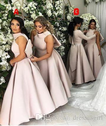 2018 Bridesmaid Dresses With Bow Floor Length Pink Satin A Line