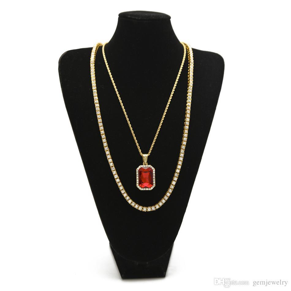 Gli uomini Hip Hop collane Set lced Out catena di strass con Set di gioielli collane di cristallo blu rosso quadrato collane