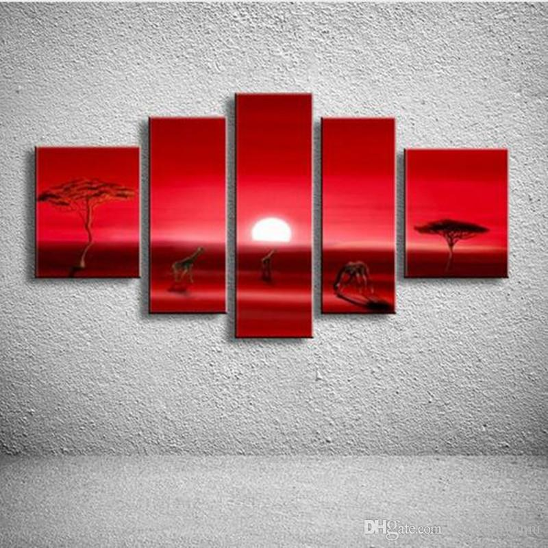 5 Panel Wall Art Pictures African Sunset Red Canvas Paintings Home Decor Hand Painted Natural Scenery Landscape Oil Painting Set