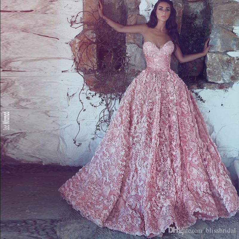 Blush Różowe Suknie Balowe Prom Dresses 2018 Nowa Sweetheart z aplikacjami Sąd Pociąg Arabski Dubai Vestido de Soiree Formalny wieczór