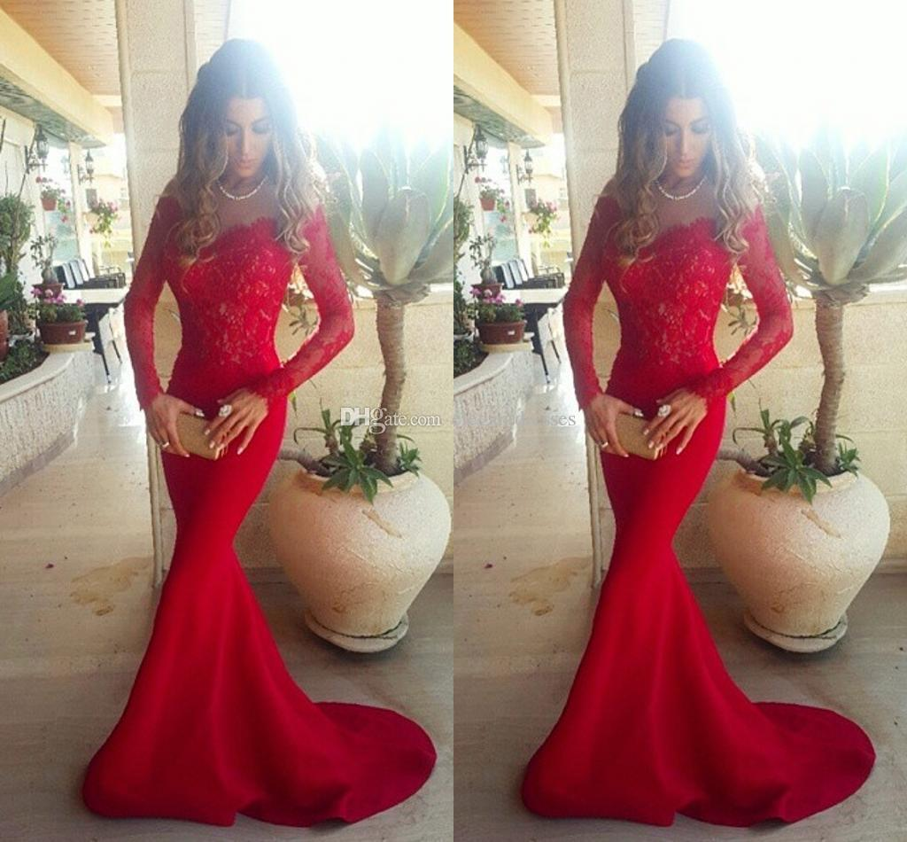 Red Lace Off Shoulder Red Mermaid Evening Dresses 2021 Elegant Long Sleeves Lace Satin Myriam Fares Celebrity Prom Dresses Sweep Train
