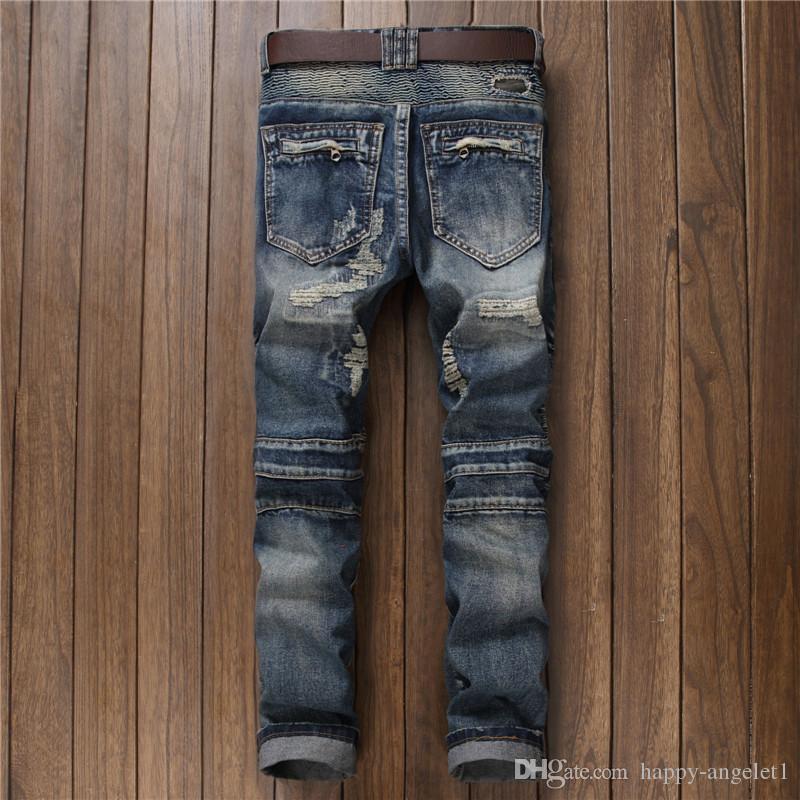 European American Style 2017 modemarke luxus Männer jeans casual slim denim hosen Gerade blau loch reißverschluss jeans für männer