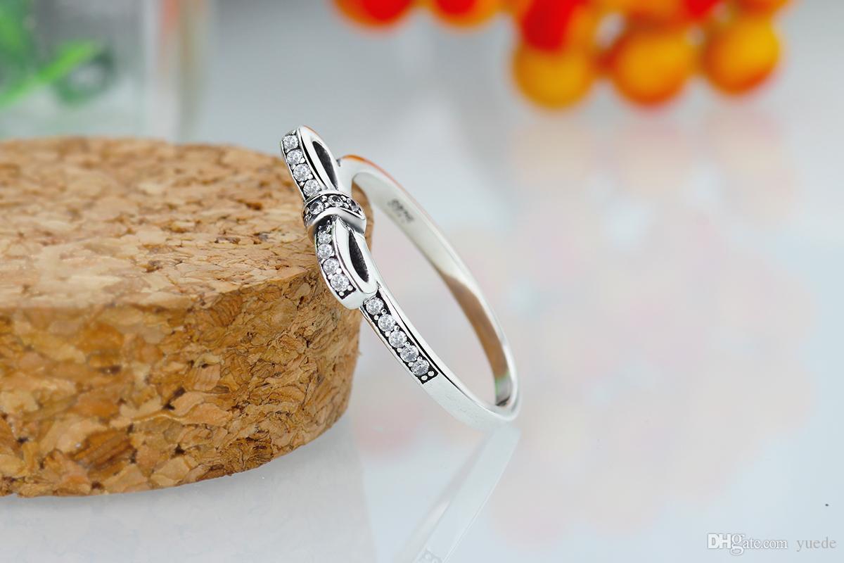2017 New Sale Women Party Round Bows Anillos Endeli Wholesale Europe Ring Fashion Jewelry Fit Pandora 925 Rings Charm Retro