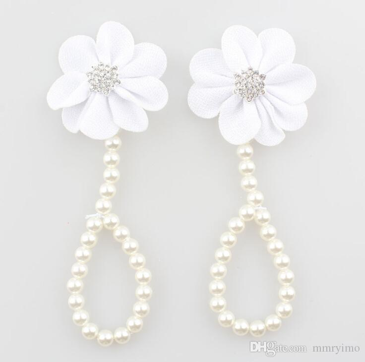 Kids Foot Accessories Fashion Baby Girl Pearl Chiffon Foot Flower Jewelry Shoes Infant Girls Shoes Barefoot Sandals