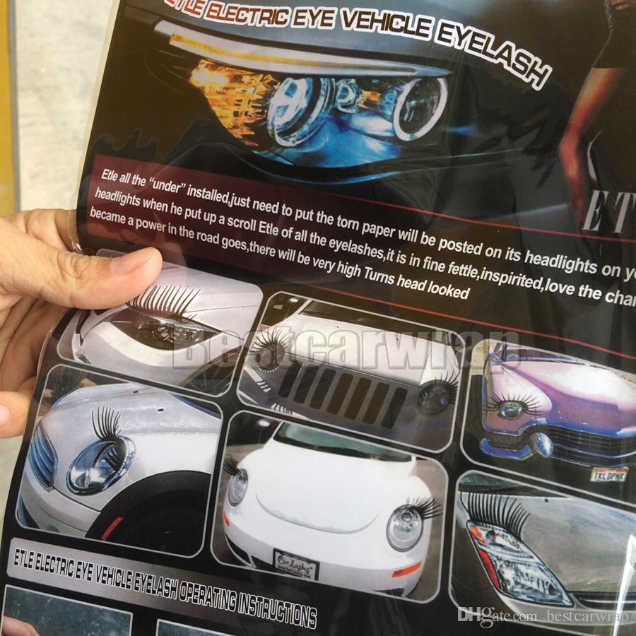 Noir 3D automobile phare de voiture cils de voiture cils auto 3d cils 3D voiture logo autocollant = es DHL livraison gratuite