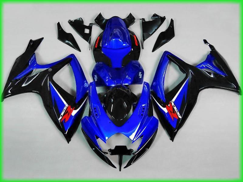 Kit de corpo de carenagem para 2006 2007 SUZUKI GSXR600 750 GSXR 600 GSXR 750 K6 06 07 ABS preto azul Carenagens MN28