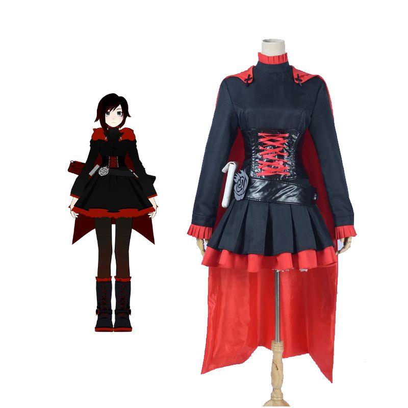Acheter Rwby Cosplay Ruby Rose Noir Robe Rouge Manteau Costume