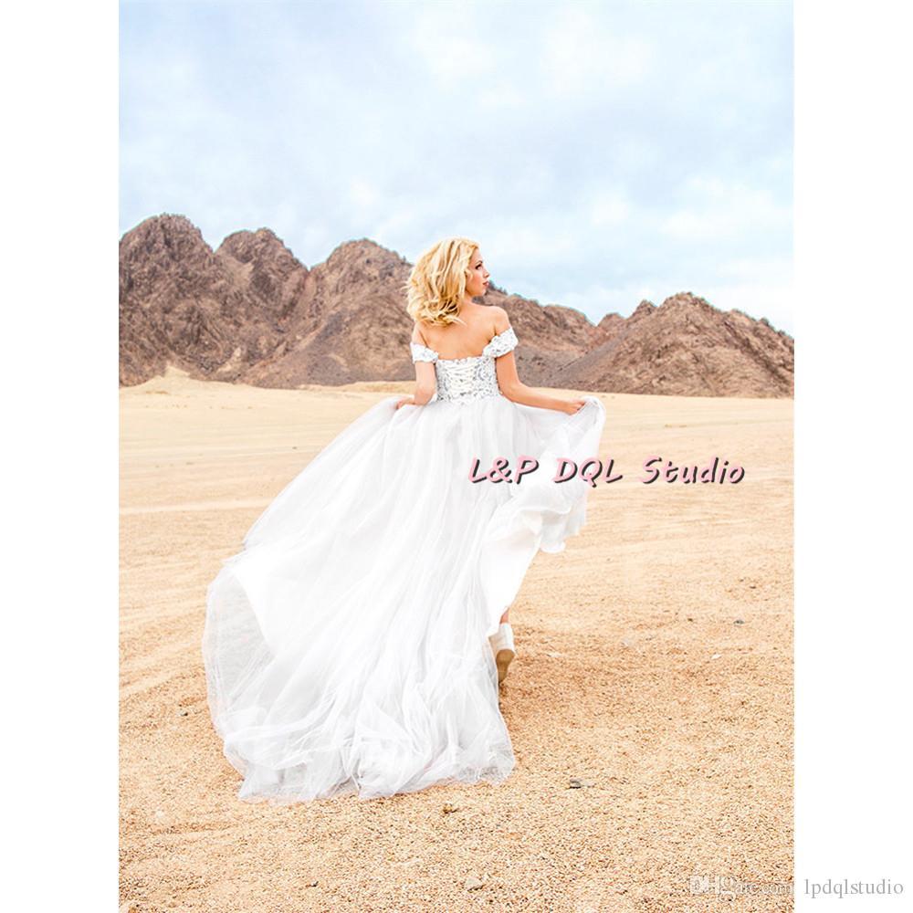 Robe de balle gris clair robes de mariée tulle doux tulle balayer robe de mariée à l'épaule dentelle dentelle floral dentelle dentelle robe de mariée de jardin
