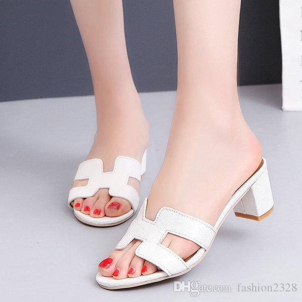 e7d8be8b568 2017 Hot Sale Europen Style Women s Slippers Middle Chunky Heel ...