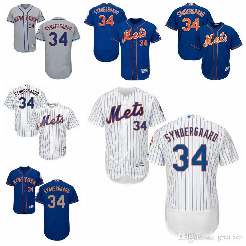 2018 new york mets 34 noah syndergaard jersey mlb blue jersey new york mets white pinstripe road gra
