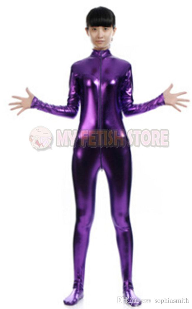 jxy003 shiny metallic zentai Suit for Men/women front open halloween performance zentai Catsuit costume