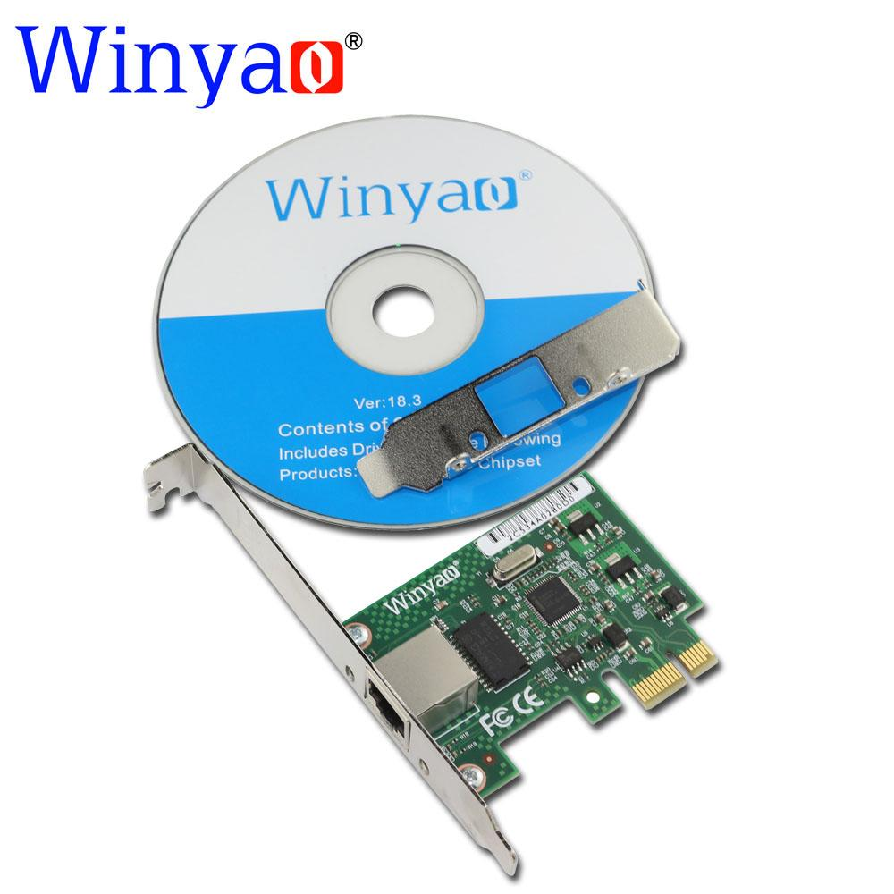 Wholesale- Winyao WY1000T1 PCI-E X1 10/100/1000M RJ45 Gigabit Ethernet Network Card Server Adapter Nic For Intel 82574L EXPI9301CT/9301CT