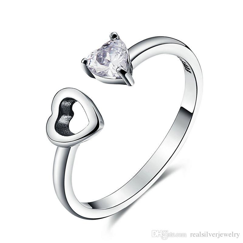 Genuine 925 Sterling Silver Heart Always Together Open Finger Ring ...