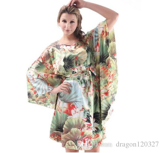 0f15ed314b 2019 Plus Size Women Nightgowns 2017 Ladies Sleepshirts For Mothers Fashion  Batwing Print Casual Home Summer Female Robes Faux Silk Sleep Lounge From  ...