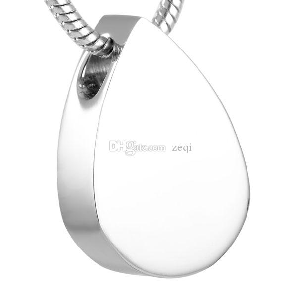 IJD8476 Blank Water Drop Stainless Steel Cremation Pendant Necklace Memory Ashes Keepsake Urn Necklace Life Souvenir