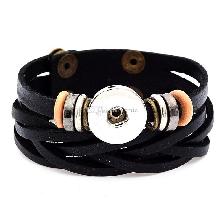 Noosa chunk bracelet DIY snaps button jewelry 18mm Ginger snap button charm Multilayer bracelets bangle for women statement jewelry