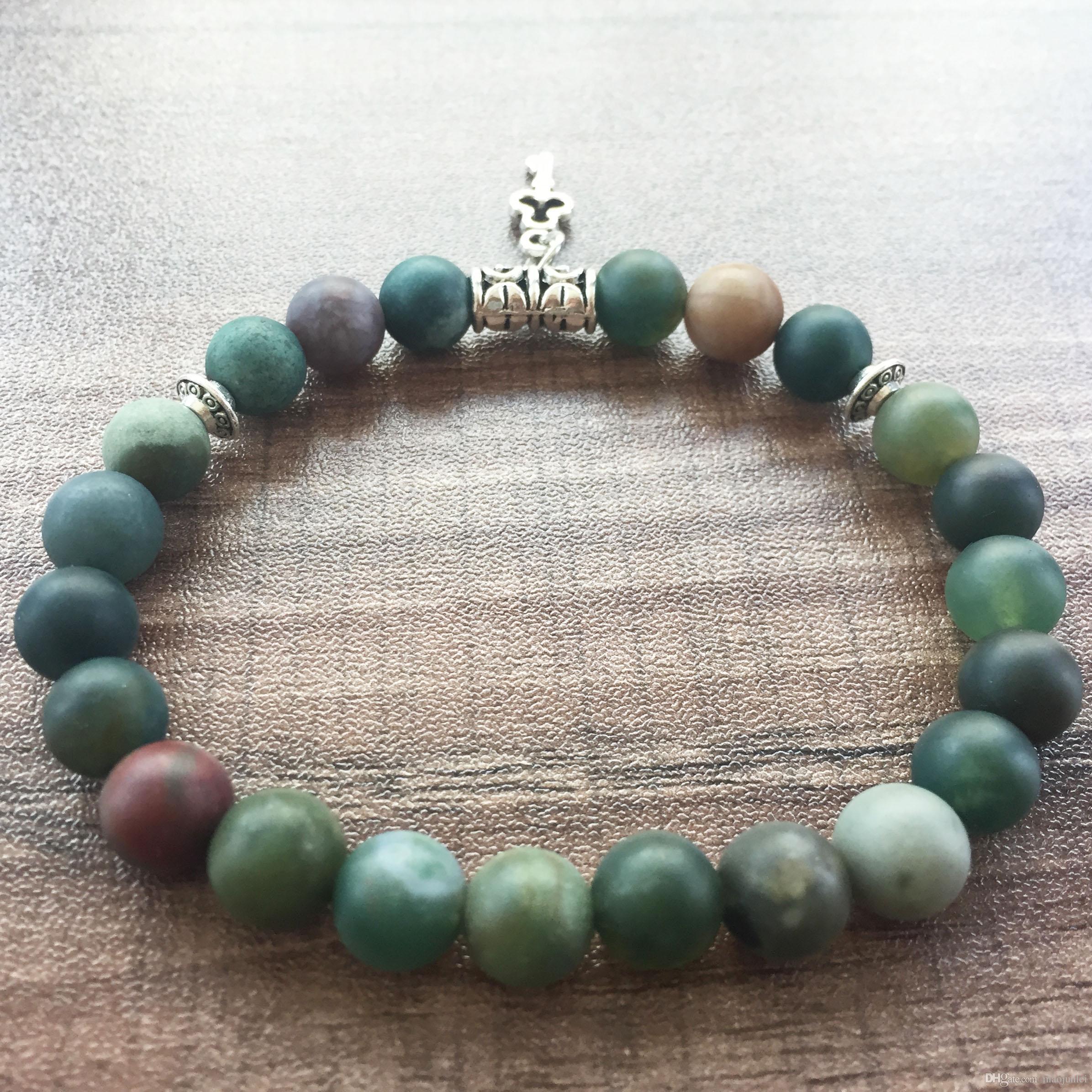 Rodada Bead Bracelet 8 MM Matte India Agate Pulseira Pedra Natural amor Chave pingente de Yoga Mala Contas Pulseiras Pulseiras de Oração