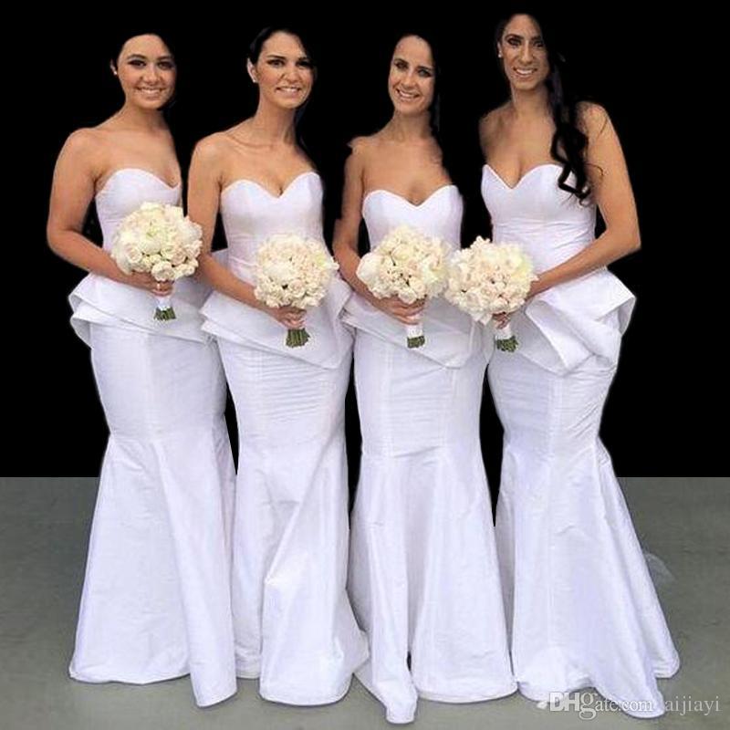 Compre Vestidos De Dama De Honor De La Sirena De Tafetán Blanco Por ...