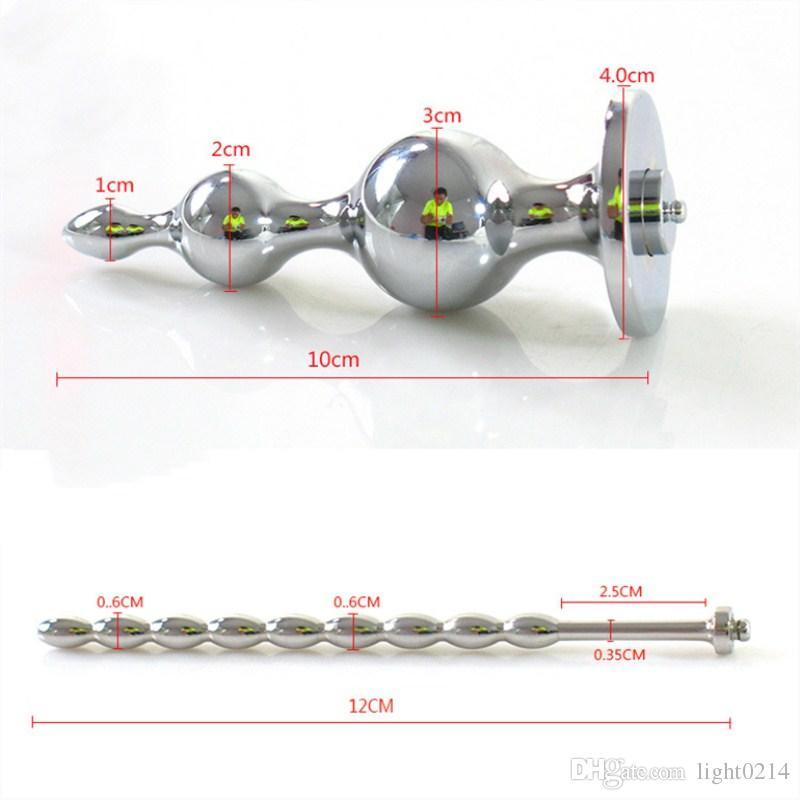 Descarga eléctrica Plug anal + 2Penis Anillos + Enchufe uretral Inicio Médica Temática Juguete Pulso Terapia física Producto adulto Hombres I9-1-65A