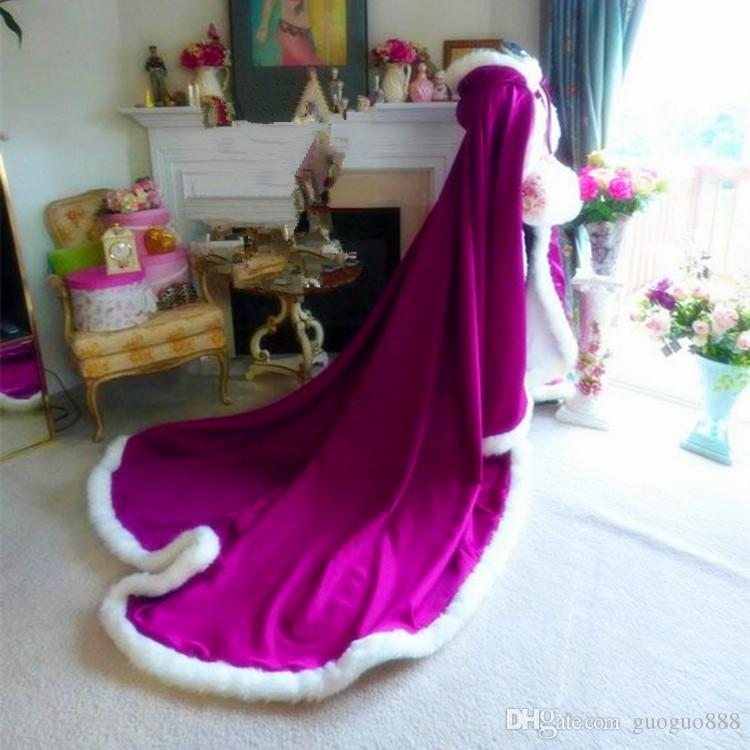 2017 NEW Winter White Long Wedding Cloak Cape Hooded with Fur Trim Long Bridal Jacket Real Picture Spring Winter Atumer